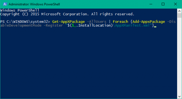 windows powershell add appxpackage