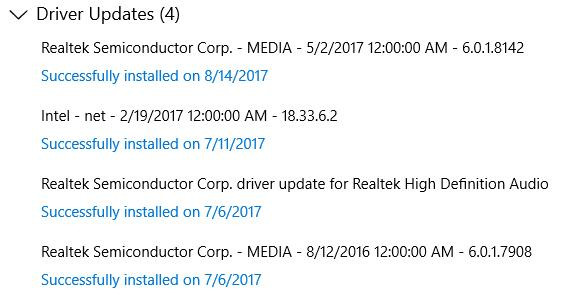 driver update history