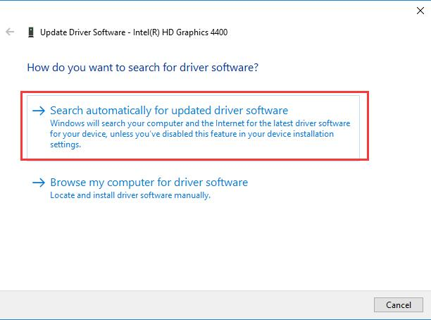 search automatically for your graphic driver