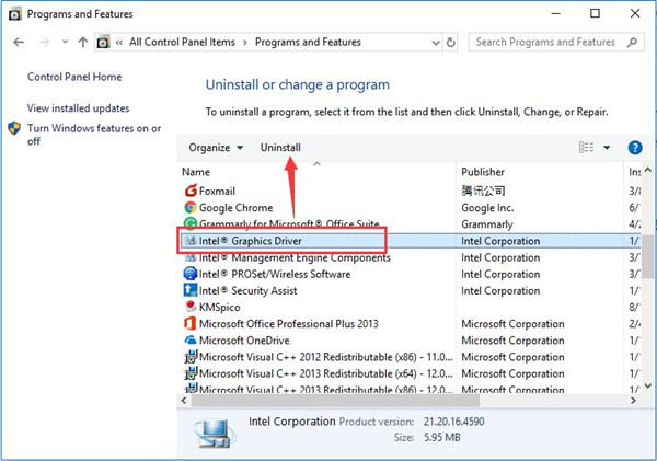 uninstall intel graphic driver control panel