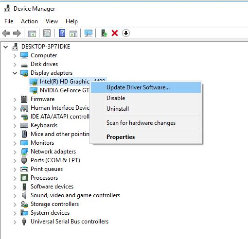 update intel graphic driver in device manager