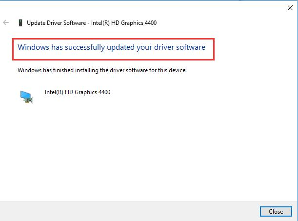 windows has successfully installed the latest intel graphic driver