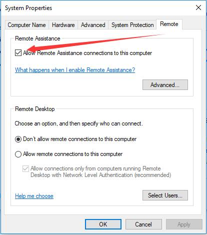 allow remote assistance connections to this computer