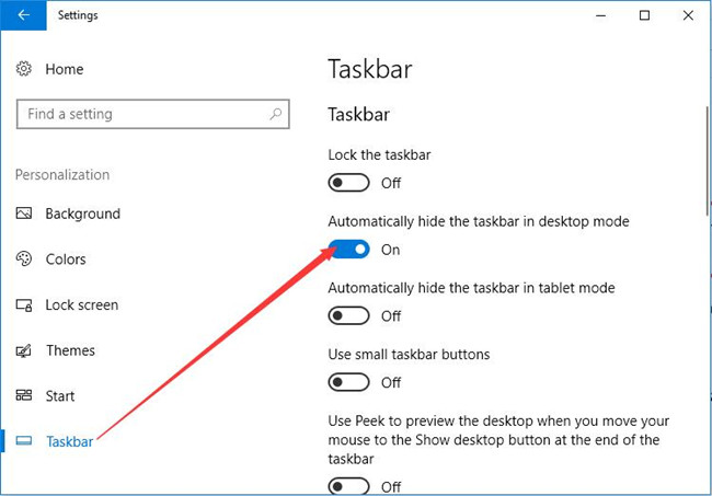automatically hide the taskbar in desktop mode
