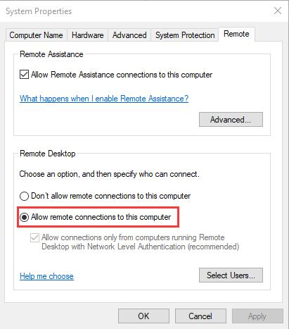 check allow remote connections to this computer