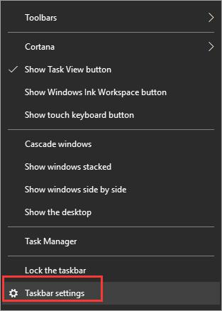 click taskbar settings