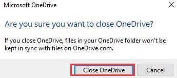 close onedrive