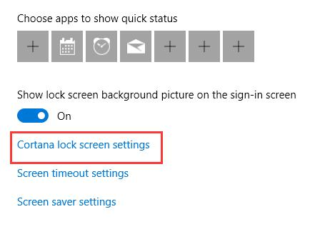 cortana lock screen settings
