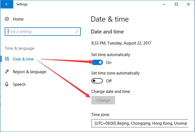 date and time set default