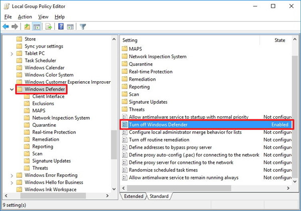 group policy turn off windows defender