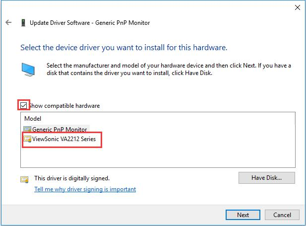 install compatible monitor device driver