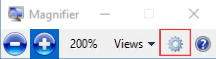 magnifier setting icon on windows 10