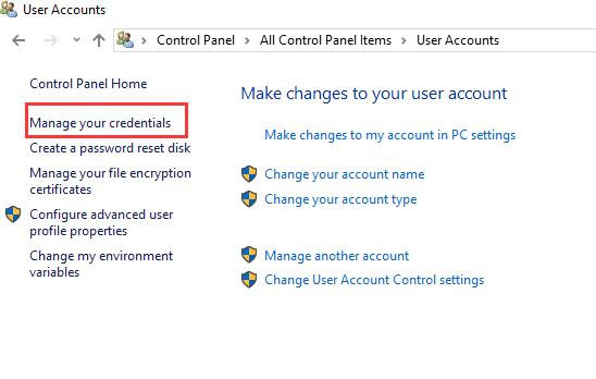 manage your credentials