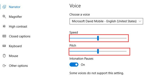 narrator voice speed and pitch settings