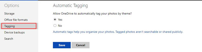 online onedrive tagging