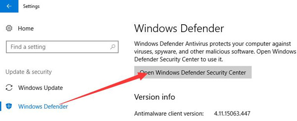 open windows defender security center