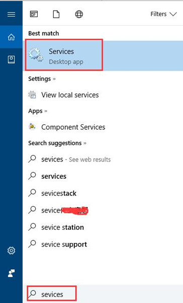 search services in the search box
