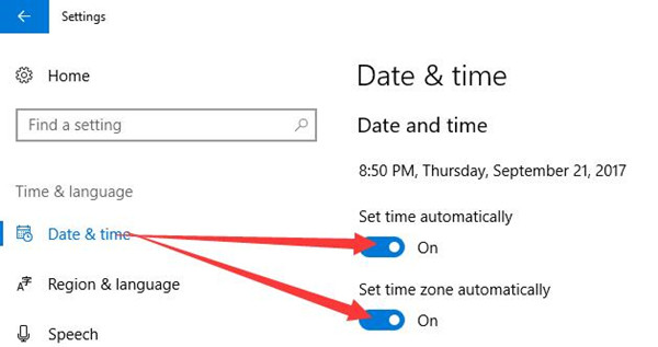 set time and time zone automatically
