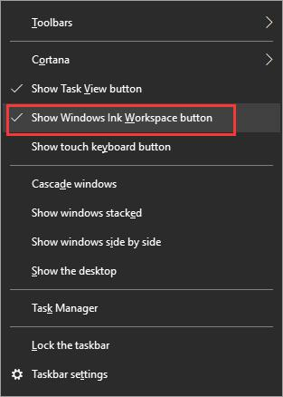 show windows ink workspace button