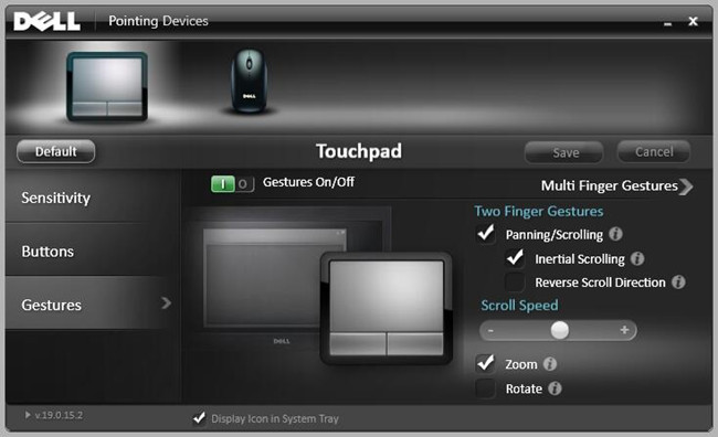 touchpad button gesture settings