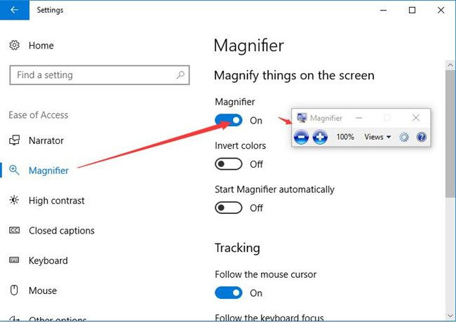 turn magnifier on