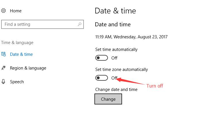 turn off set time zone automatically
