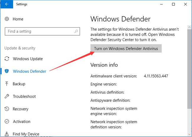 turn on windows defender antivirus
