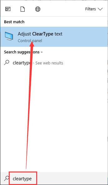 type cleartype on search box