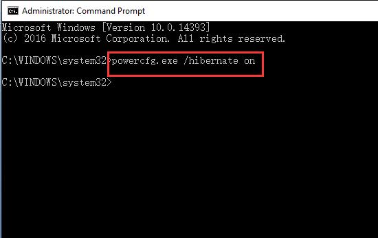type keyword in command powercfg.exe hibernate on