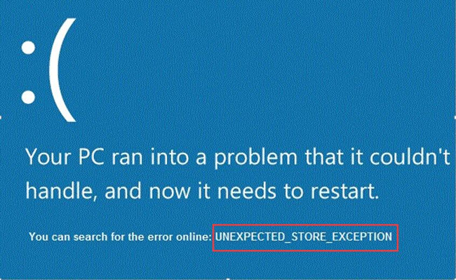 unexpected store exception error