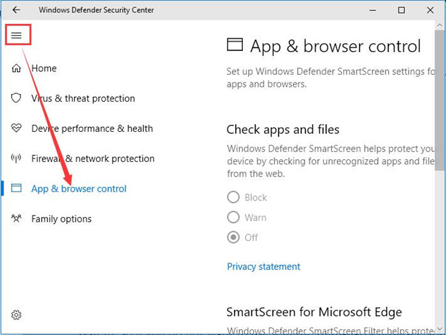 windows defender app browser tool