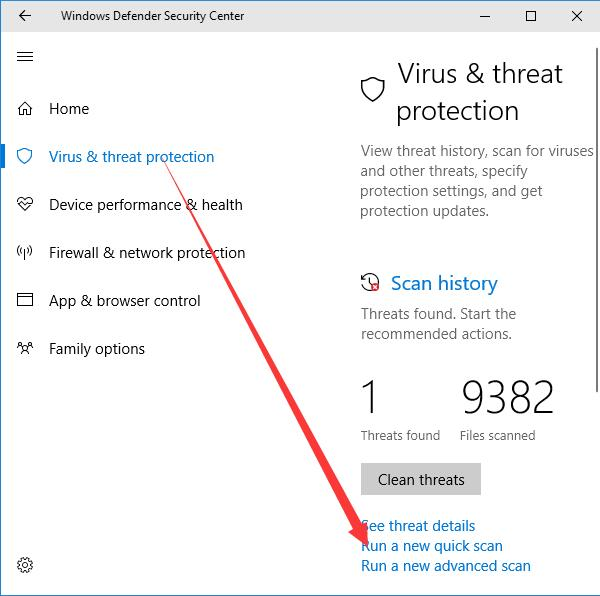 windows defender run a quick scan