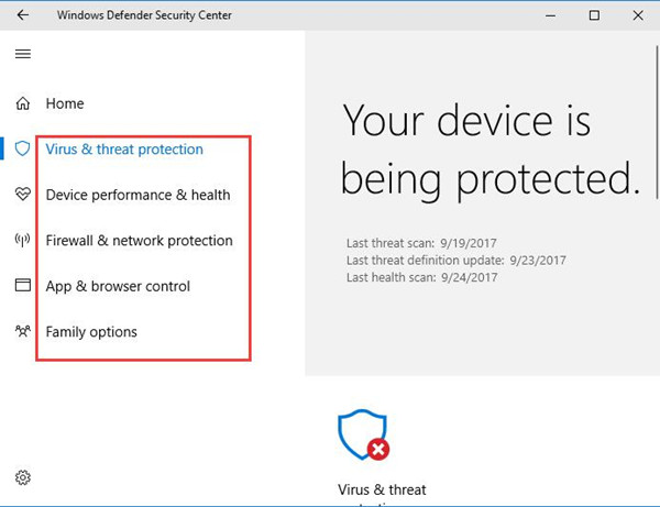 windows defender security center options