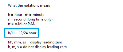 windows time notations
