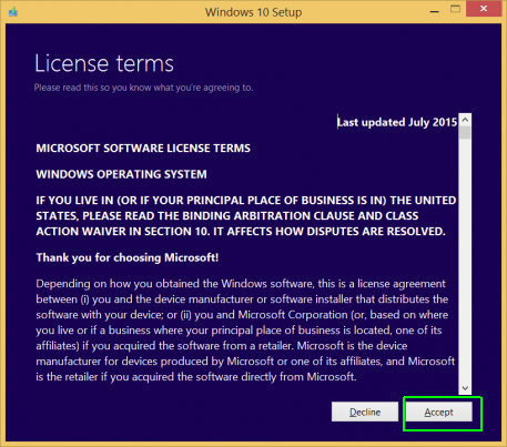 accept license terms