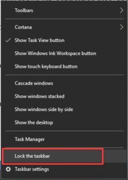 cancel lock the taskbar function