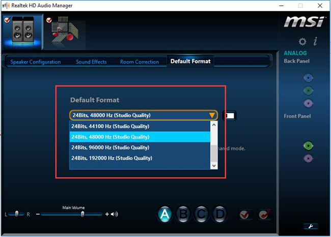 change default format on realtek hd audio manager