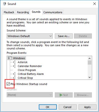 check play windows startup sound