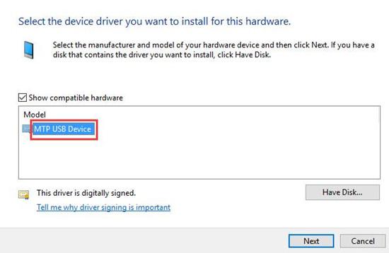 choose compatible mtp usb device