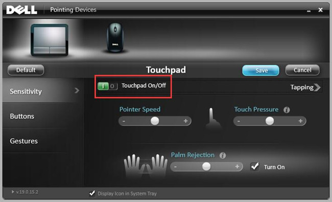 dell pointing devices sensitivity touchpad turn on
