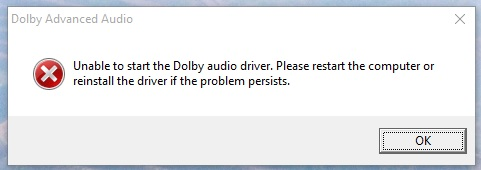 dolby audio driver issue