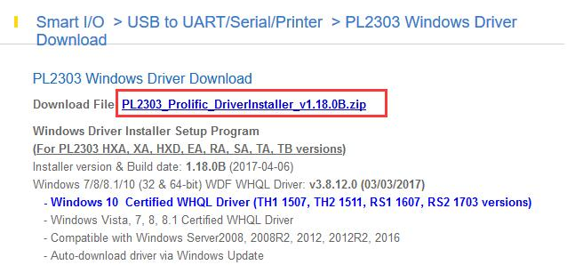 prolific usb to serial driver for windows 10 free download