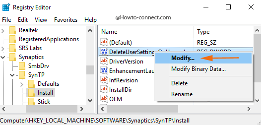 mouse modify option