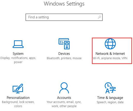network and internet settings of windows 10