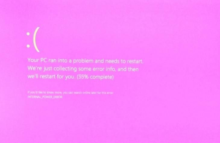 pink screen of death windows 10
