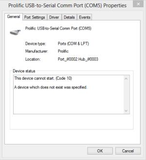 prolific usb to serial common port code 10 error
