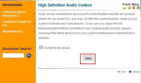 realtek drivers download accept agreement