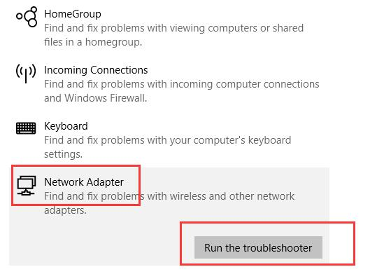 run network adapter troubleshoot