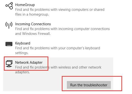 run network adapter troubleshoot