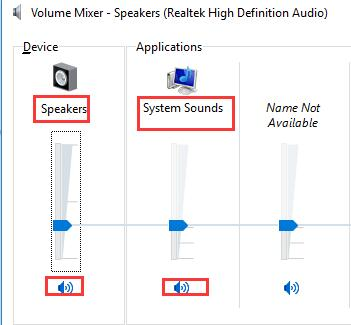 speaker no sound windows 10